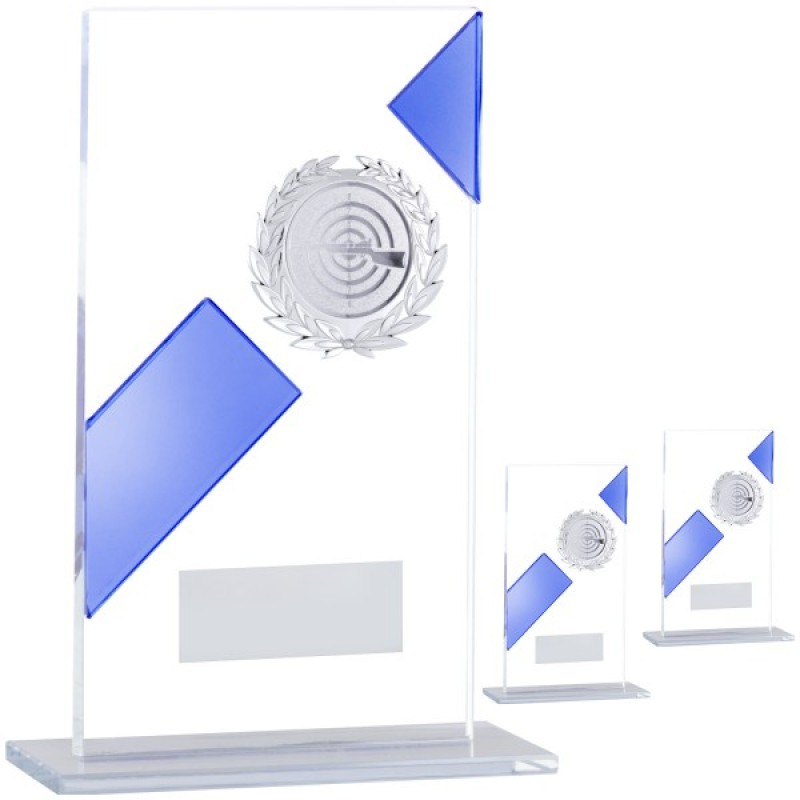 Простой стеклянный трофей с синей полосой